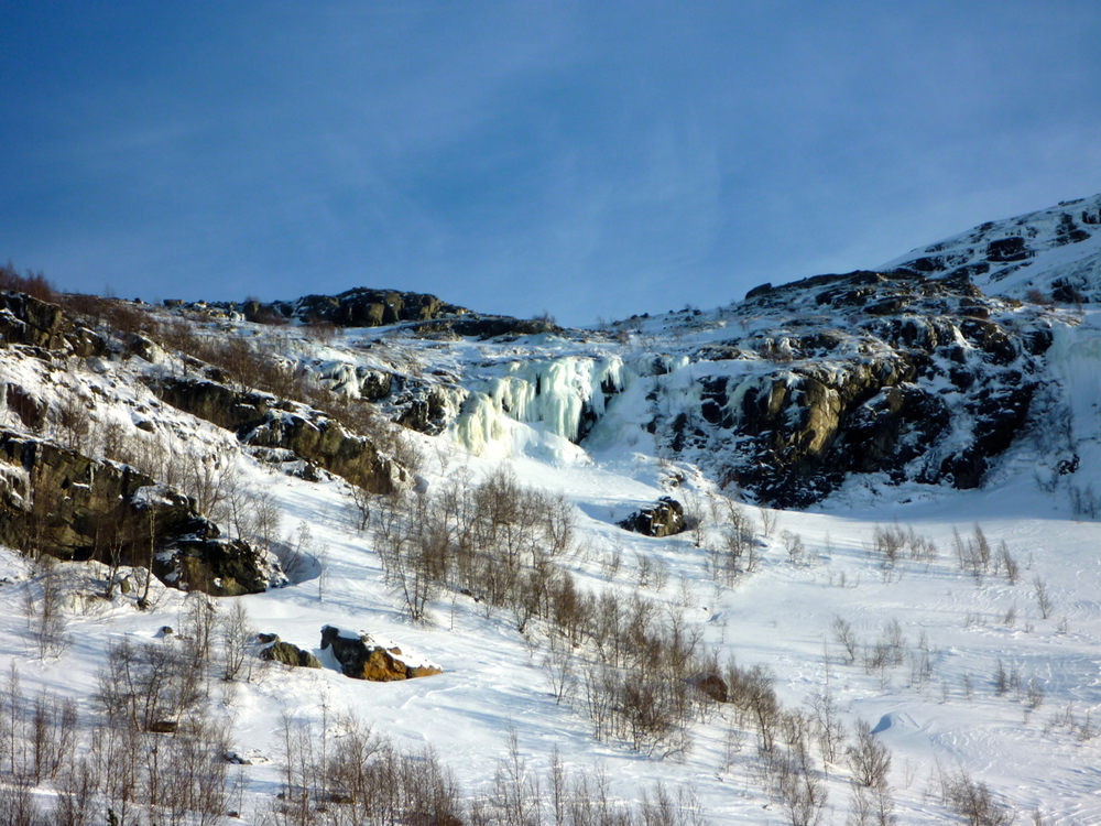 Frozen falls above Myrdal