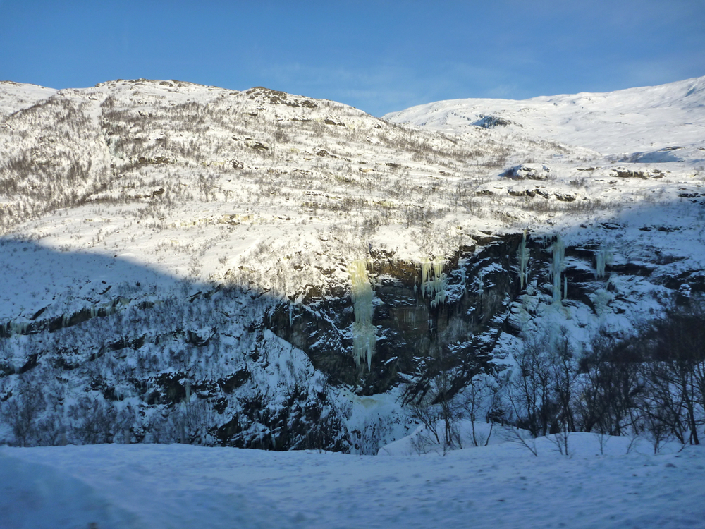 Looking back to frozen falls above Kjosfossen