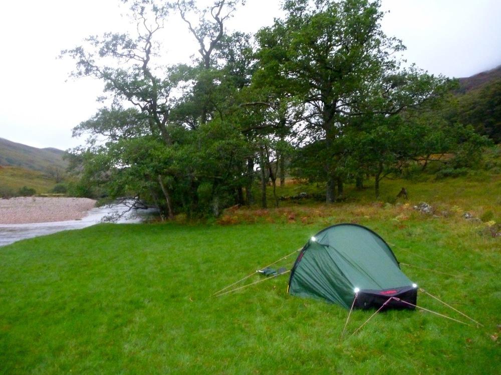 Tent beside River Kinglass