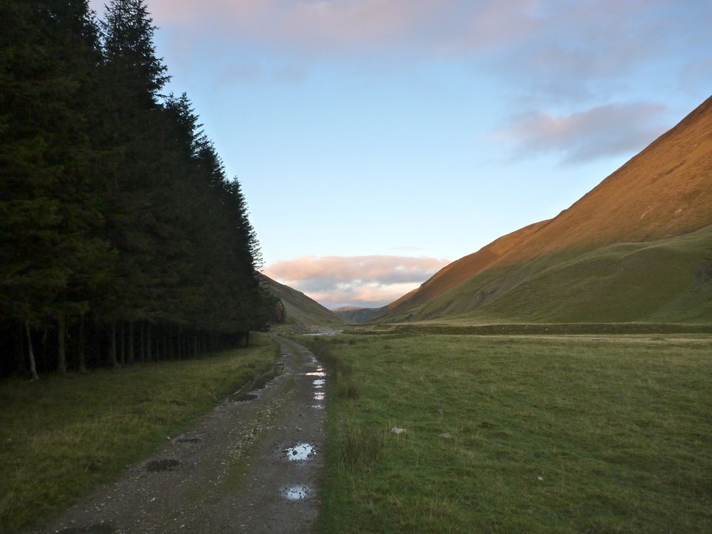 passing forest lodge wood, view five miles up the glen to creag dubh