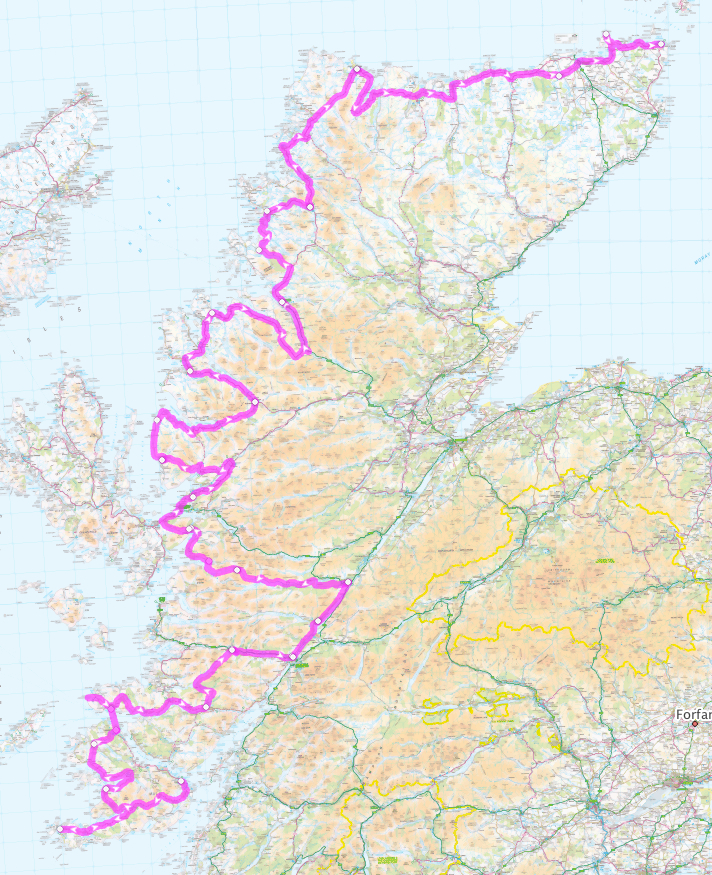 Route of my 2010 West Highland Ride