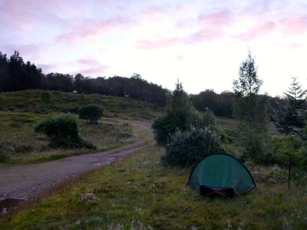Campsite in the first light of a beautiful morning.
