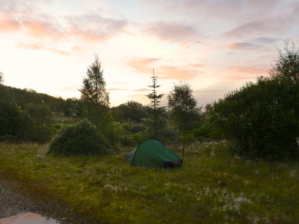 Campsite shortly before six in the morning: a glorious sky heralds a beautiful day. I mightily upset a nearby stag, which barked at me for some time.