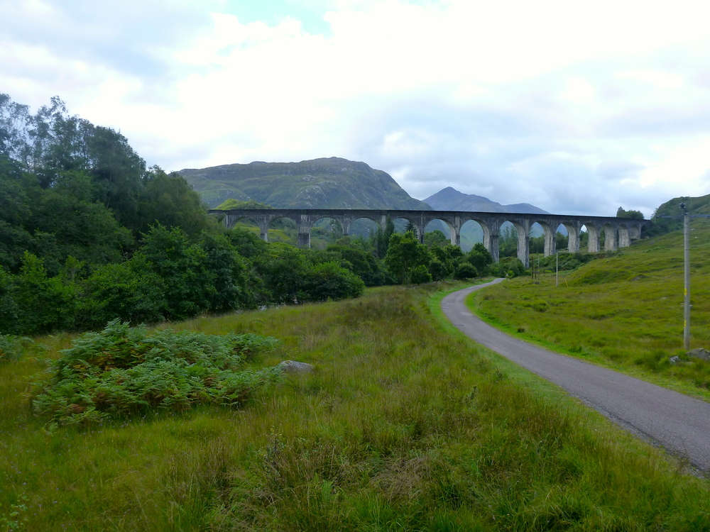 The Glenfinnan viaduct seen from the glen, looking westwards.