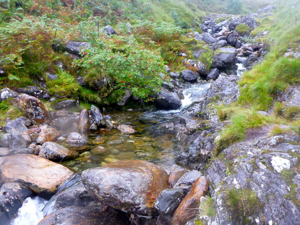 The Allt Coire nan Uth: pools, big boulders, and fast water.