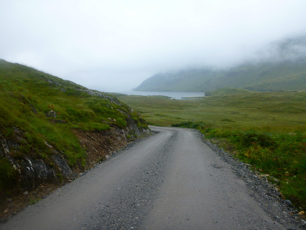 The estate road out of Glen Dessarry; first glimpse of Loch Arkaig.