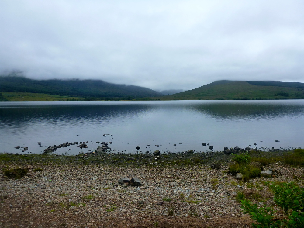 Loch Arkaig from the minor public road along its northern shore. The loch is twelve miles long.