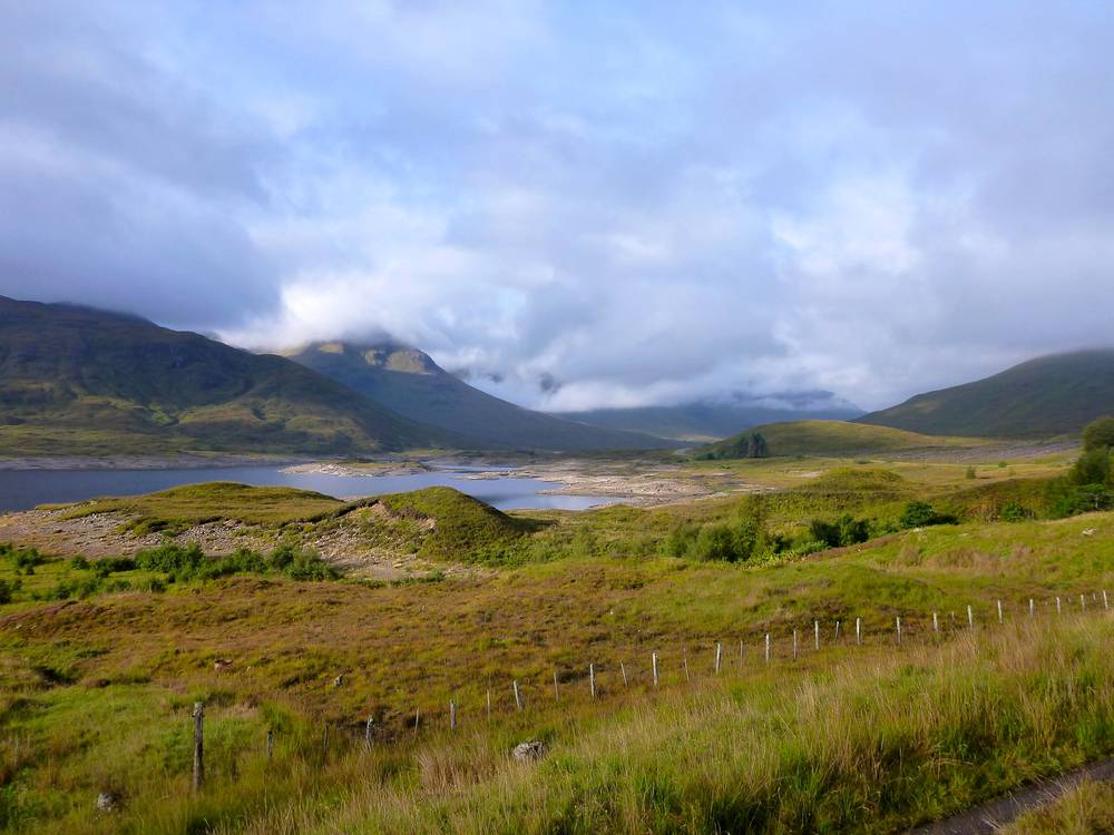 Loch Cluanie in the morning sunlight.