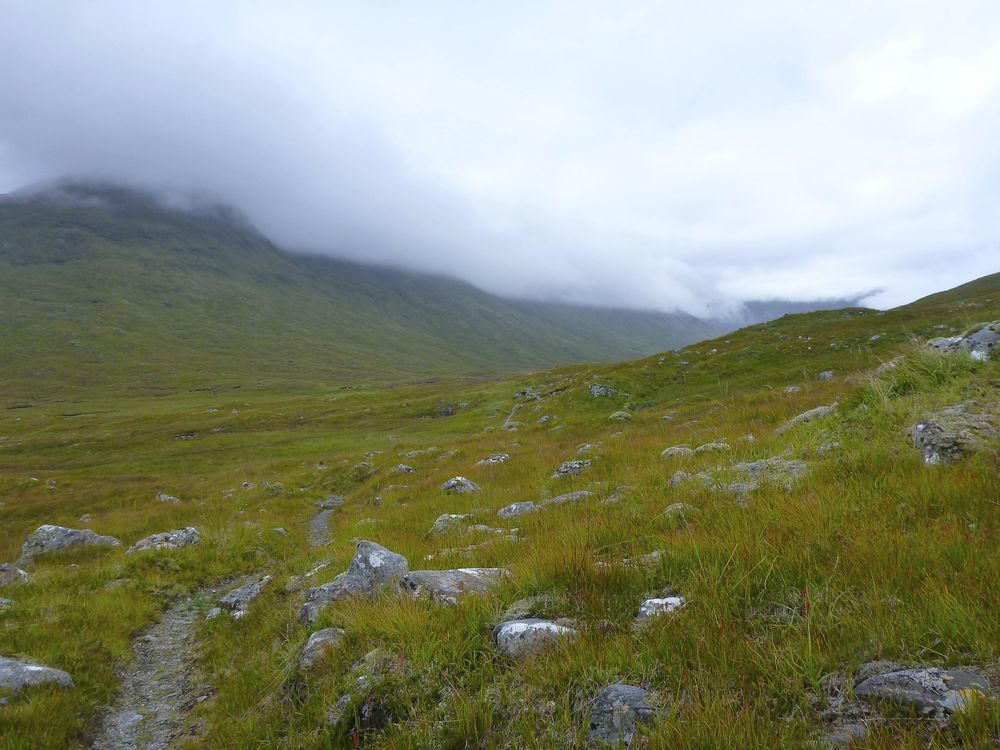 Old stalkers' path heading up Gleann Gnìomaidh.