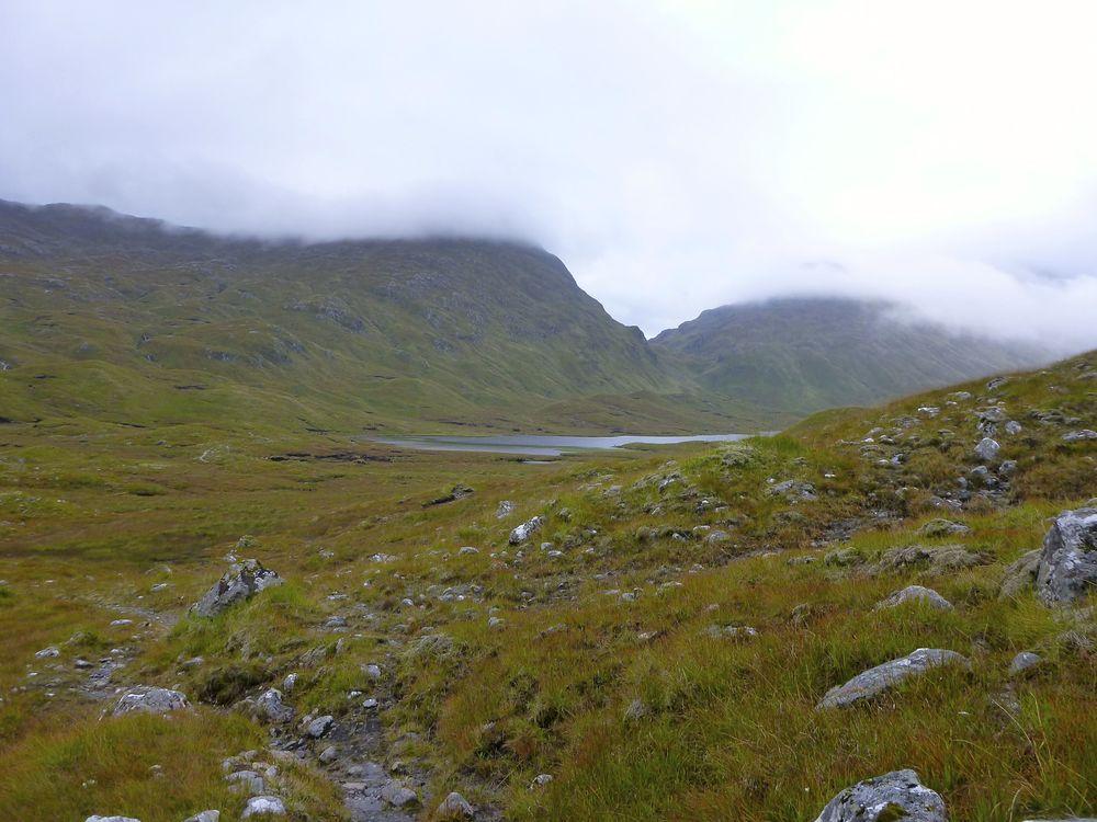 Bealach an Sgàirne seen across Loch a' Bhealaich.