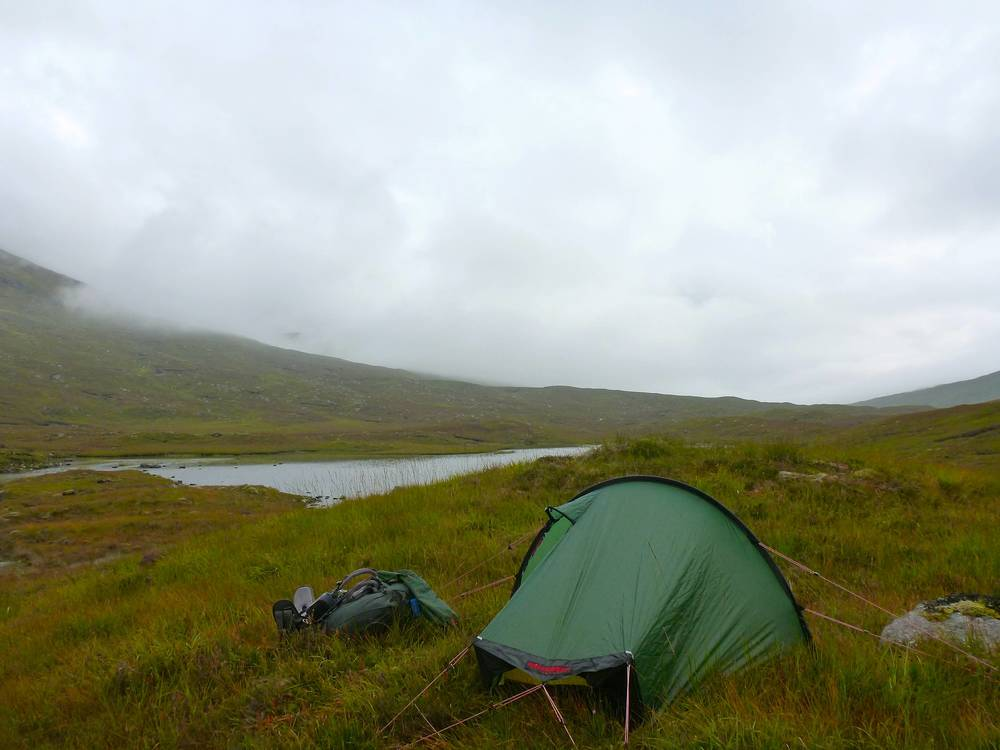My windy but dry campsite above Loch Lòn Mhurchaidh at about six in the evening.