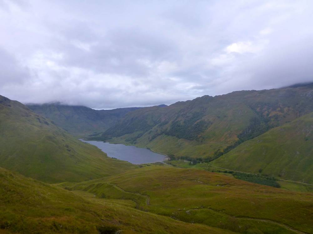 Looking down westwards into Srath Duilleach from the descent. Loch na Leitreach fills the valley. I would turn right at Carnach, at the closer end of the loch.