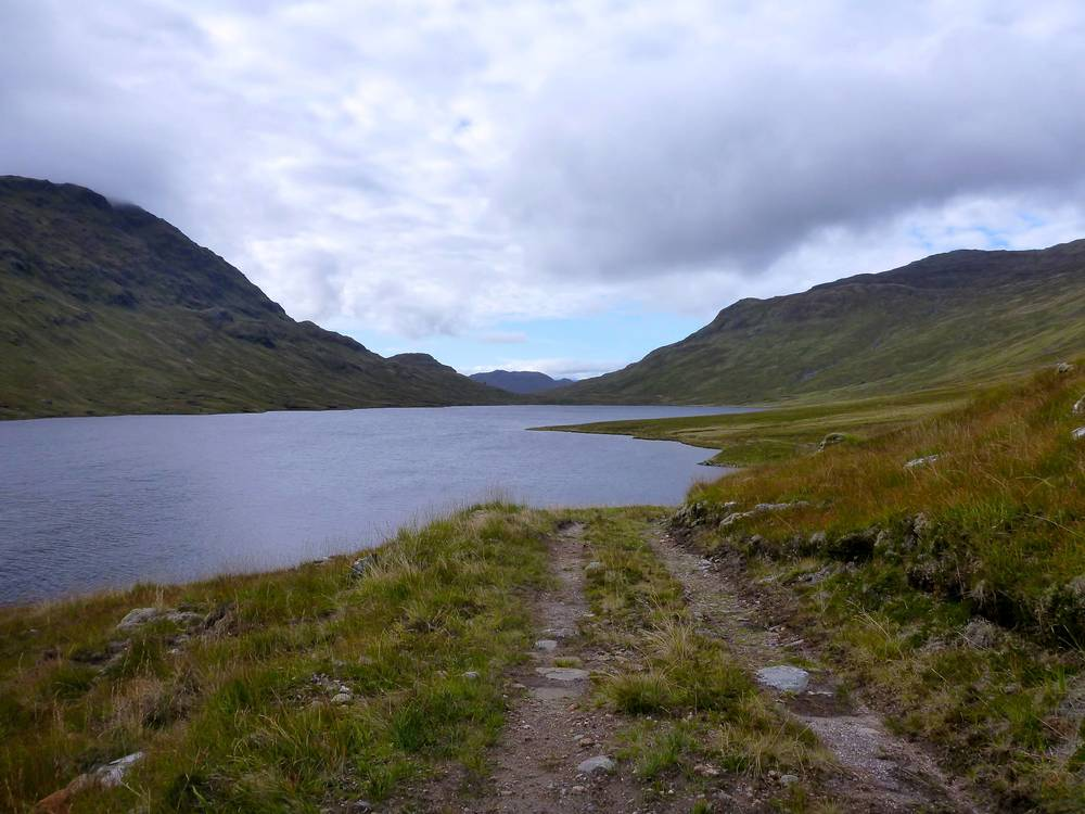 The little-used landrover track along the shore of Loch Calavie, heading westwards.