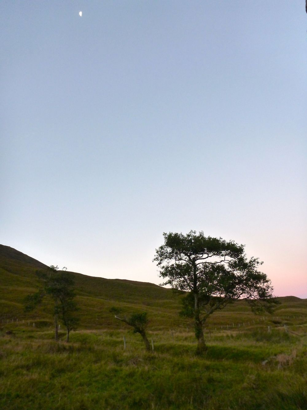 Early morning moon at Bendronaig bothy.