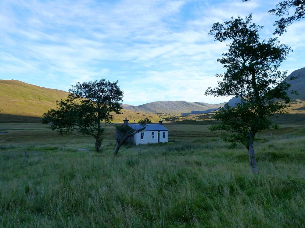 Bendronaig bothy looking northwards in early sunlight.
