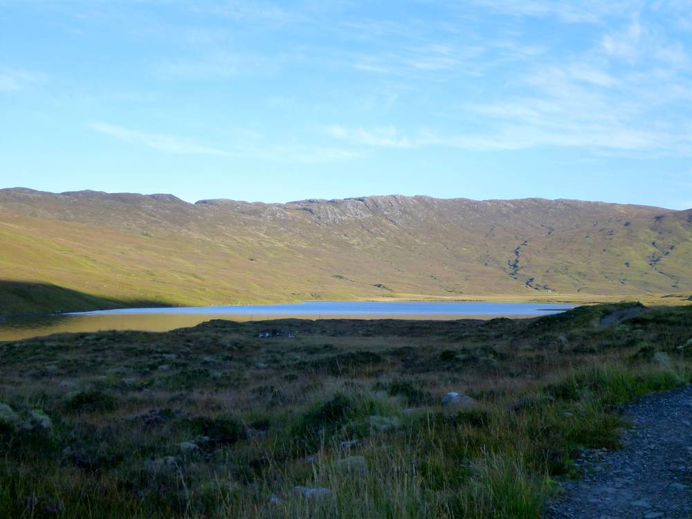 Loch an Laoigh with Bearneas bothy nestled behind it (right-hand side of picture).