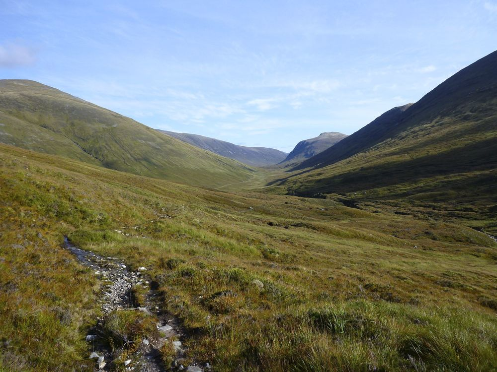 Old stalkers' path winding down to Pollan Buidhe in Glenuig; the prominent crag near right, under which the landrover track passes, is Creag an Ardaich on the flank of Sgùrr nan Ceannaichean.; behind it is Meall an Fhliuchaird.