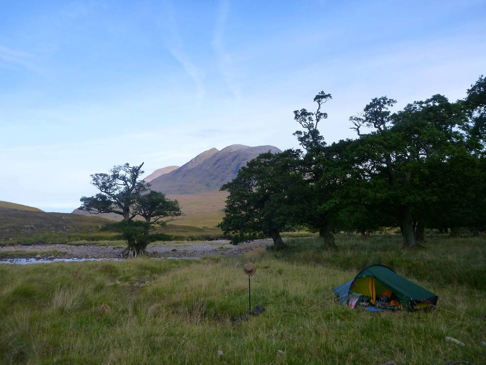 An Teallach in the morning light looming above my campsite in Strath na Sealga.