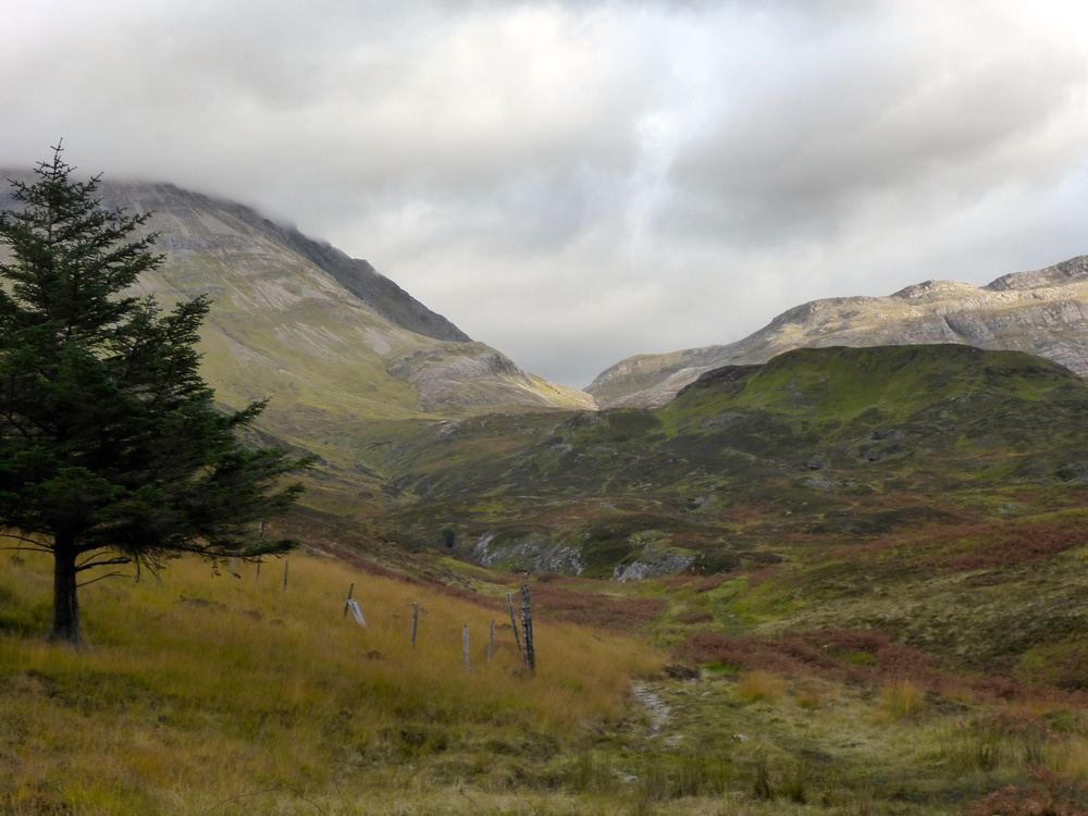 Looking back from the path to Inchnadamph, at the northwestern slopes of Braebag and Braebag Tarsainn; the pass we crossed is in the centre, Conival on the left.