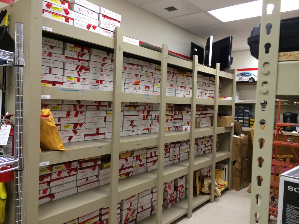 In those boxes are firearms confiscated by the Pensacola Police Department.