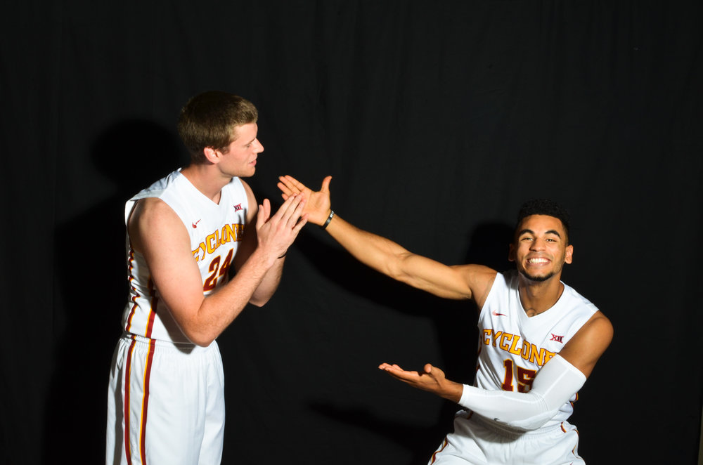 Stu Nezlek poses with Naz Mitrou-Long at the team's media day before the 2016-2017 season. Photo by Katy Klopfenstein/Iowa State Daily