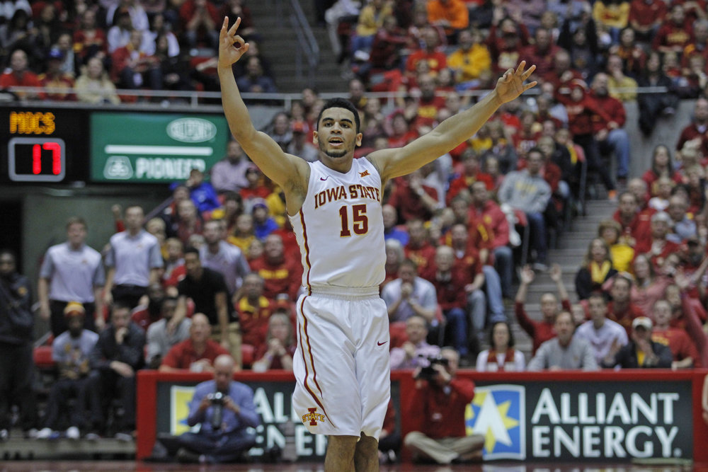 Naz Mitrou-Long celebrates after hitting a 3-pointer during the 2015-2016 season. Mitrou-Long played just eight games that year before sitting out due to an injury in his hips. This season, Mitrou-Long is back for one last go around, and is finally playing pain-free. Photo by Ryan Young/Iowa State Daily