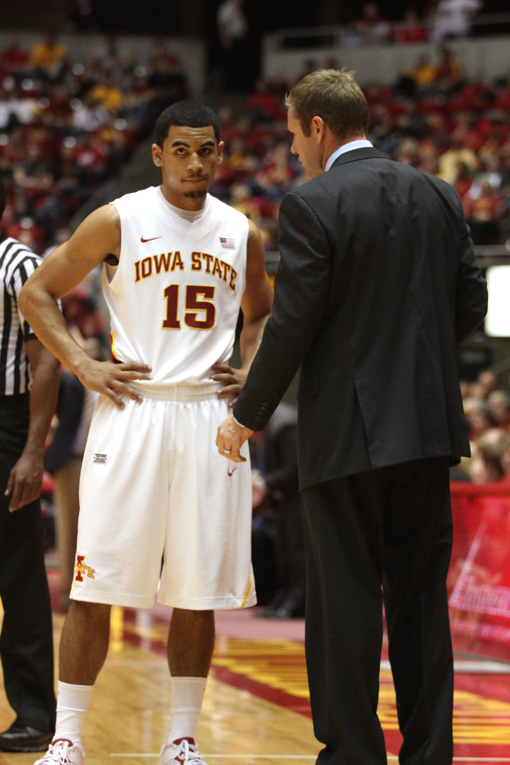 Naz Mitrou-Long talks with Iowa State coach Fred Hoiberg during his freshman season. Photo by William Deaton/Iowa State Daily