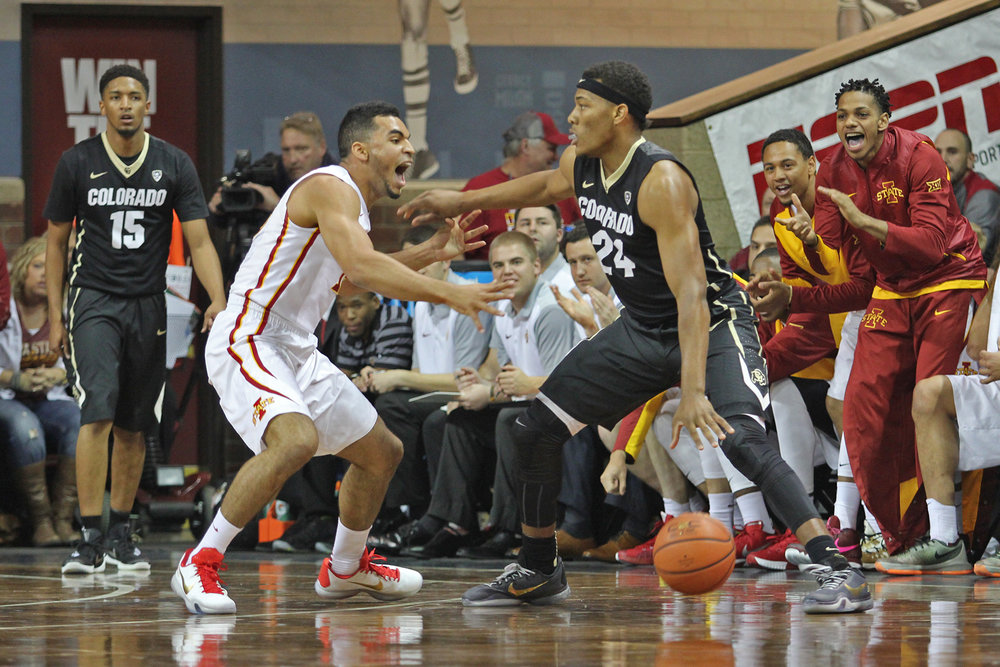 Naz Mitrou-Long guards a Colorado player in the Cyclones' 2015-2016 season opener in Sioux Falls, South Dakota. Photo by Ryan Young/Iowa State Daily.