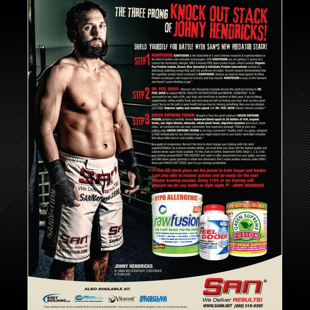 SAN magazine ad featuring athlete Johny Hendricks in CRUZ CMBT Event Custom Fightshorts.  Source:  www.sann.net