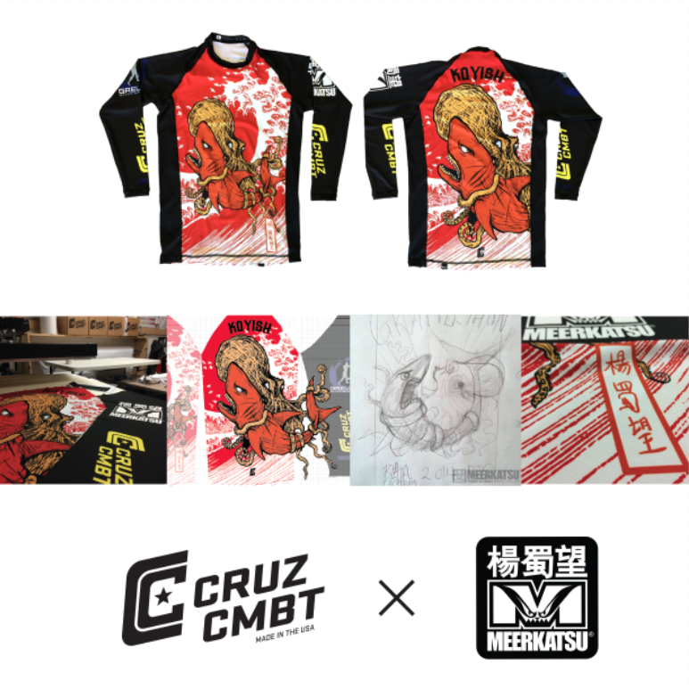 CRUZ CMBT x Meerkatsu custom rashgaurd contest design. Winner was allowed their choice of Meerkastu illustrations for the custom piece.
