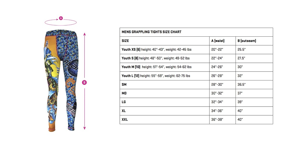 mens grappling tights size chart