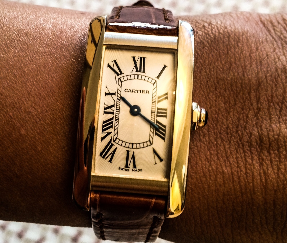 wrist shot of the Cartier Tank Americaine