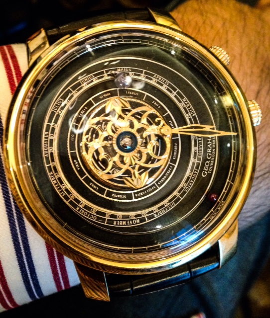 Live wrist shot of the Graham Orrery Tourbillon