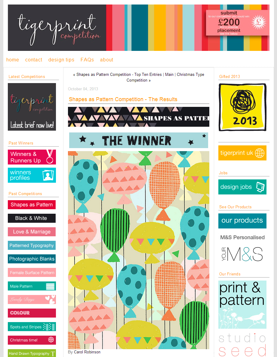 I  was very delighted that my balloon design won the Tigerprint Shapes as pattern competition.