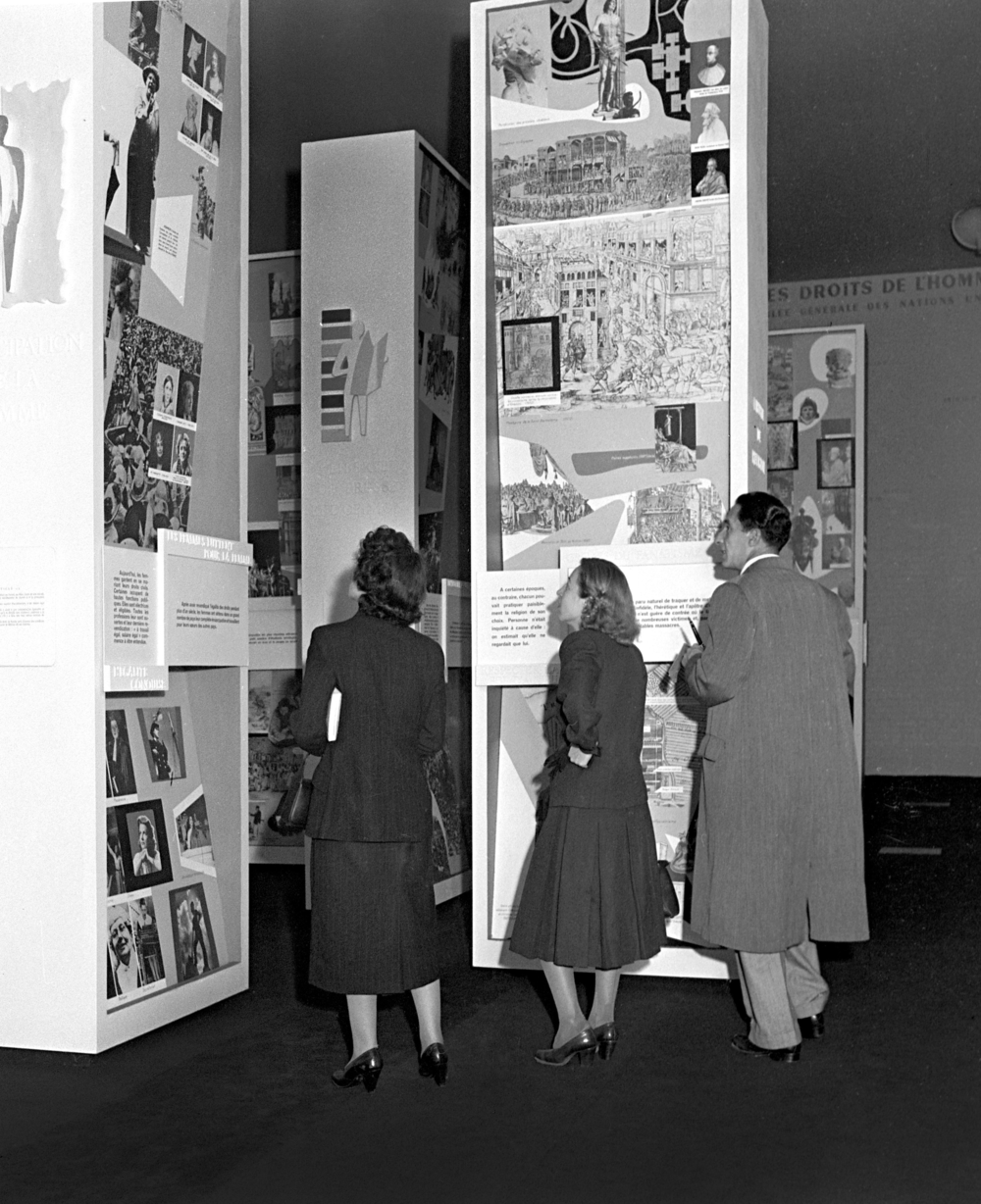 Installations at The Human Rights Exhibition, Musée Galliéra, Paris, 1949.