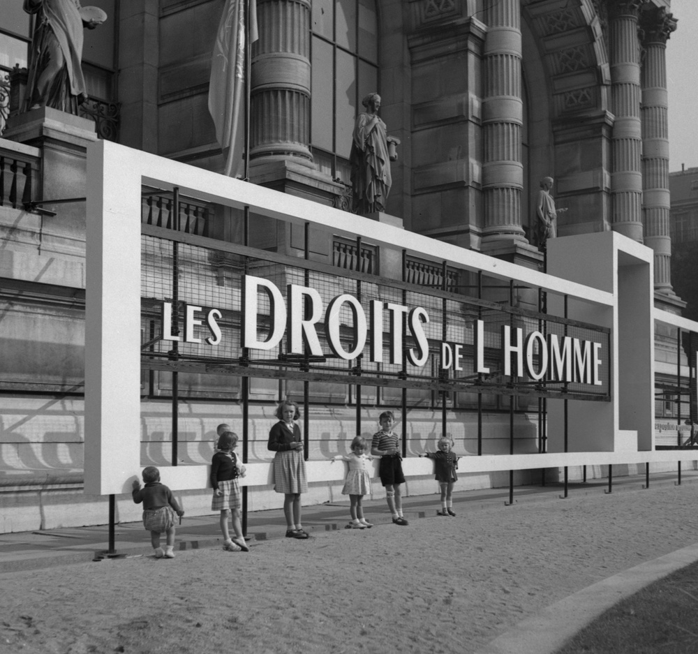 Facade of Musée Galliéra during the Human Rights Exhibition, Paris,  1949.