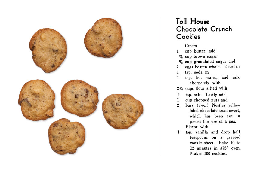 The original chocolate chip cookie recipe created in the late 1930s and cookies made from the recipe.