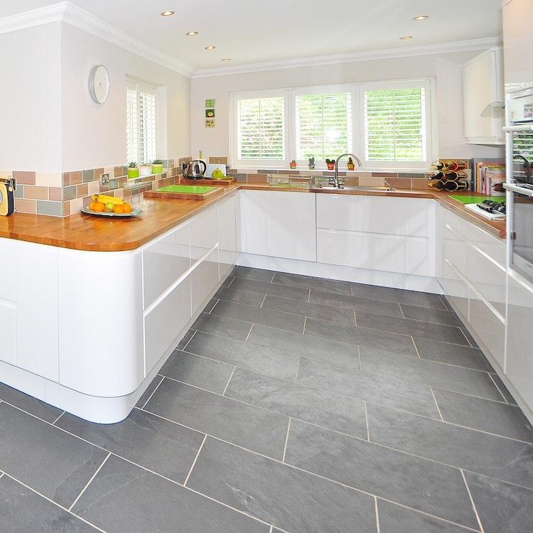 retro kitchen with gray tile floor