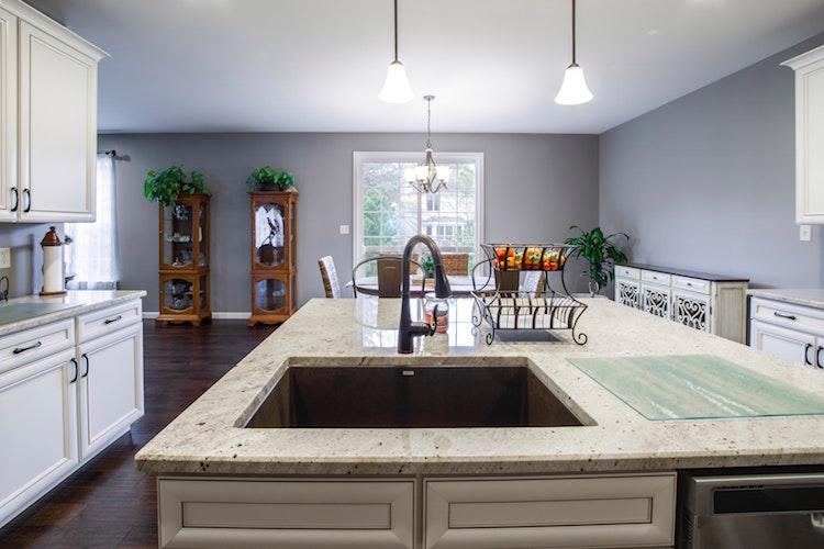 granite kitchen island with sink