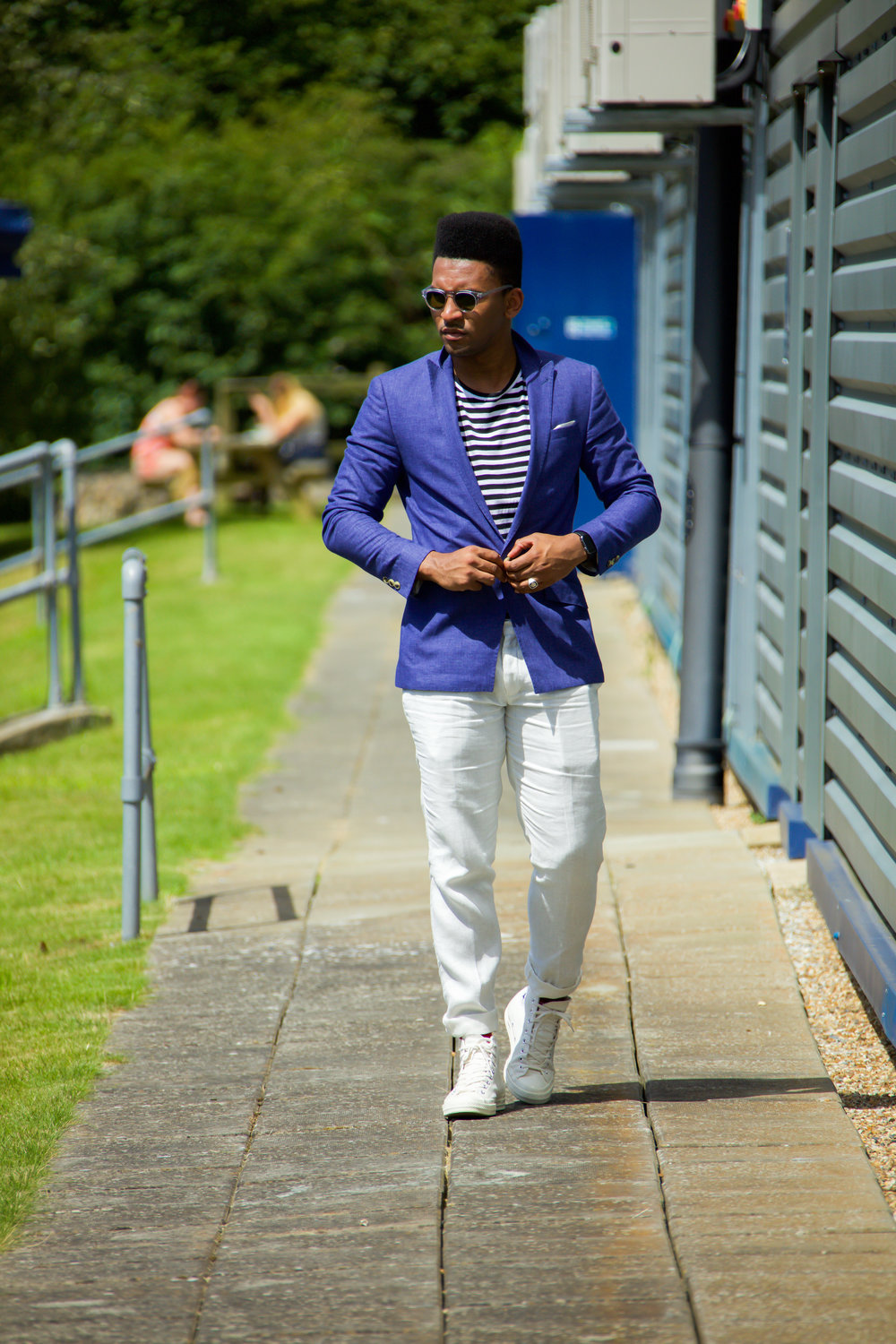 Blue summer suit blogger london