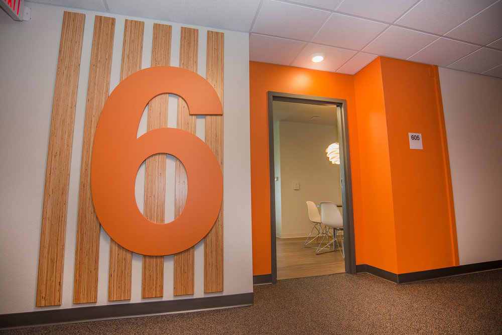 Custom, design, wayfinding, signage, number graphic