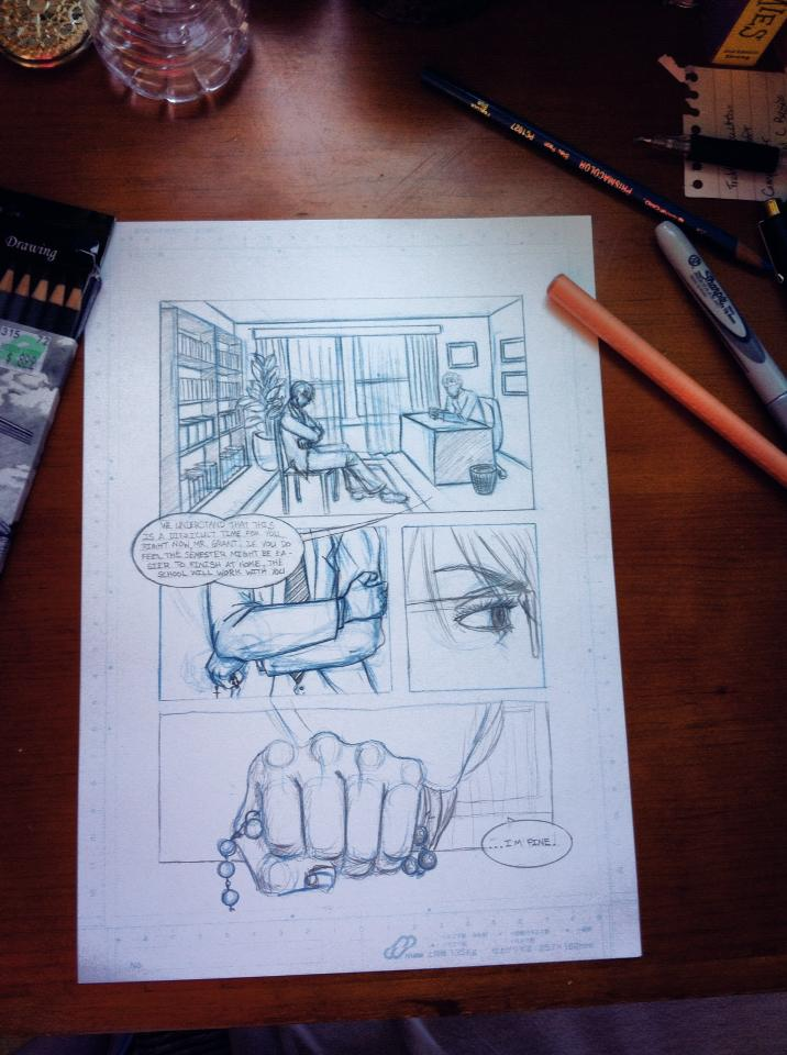 Rough draft of page one of my comic about the Bishop.