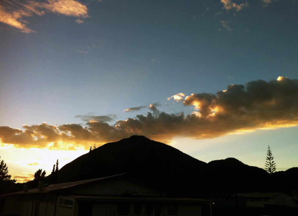 Sunrise sneaking up over MtPutauaki
