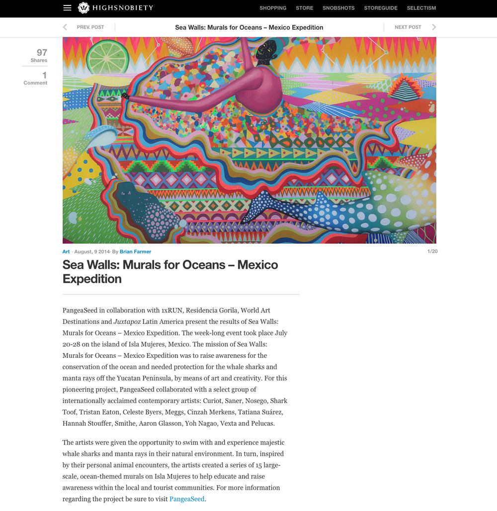 High Snobiety Article on Sea Walls Murals For Oceans - Isla Mujeres - VIEW HERE