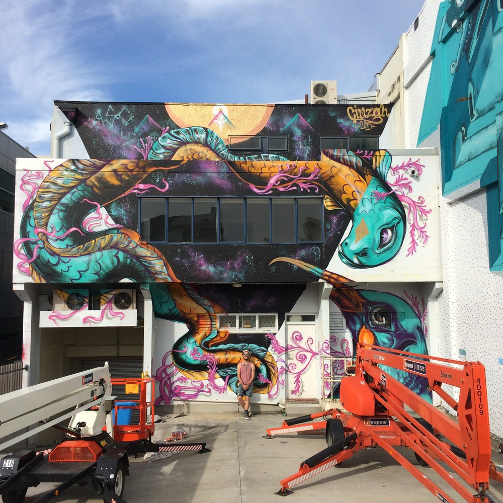 3 Story, Split level mural in Huatoki Plaza, New Plymouth, Taranaki. NZ.