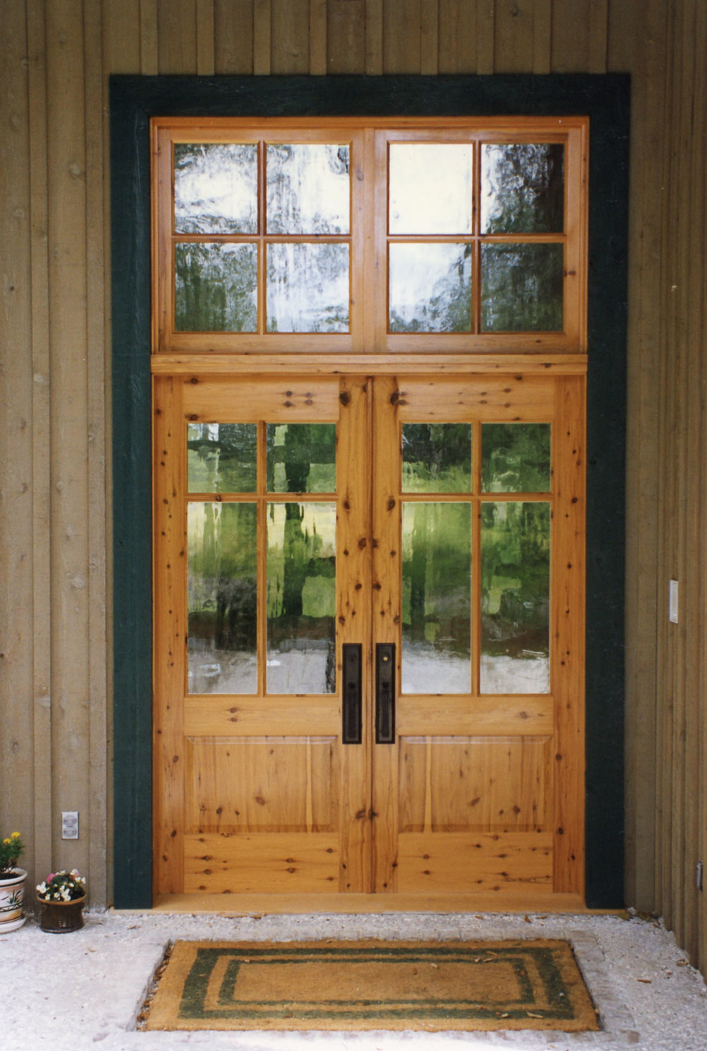 Bookmatched Australian Cypress Front Entrance with Restoration Glass