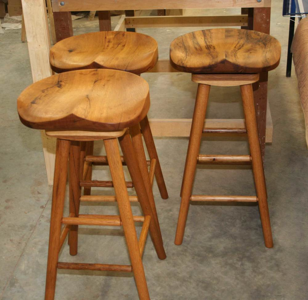 Reclaimed White Oak Swivel Stools