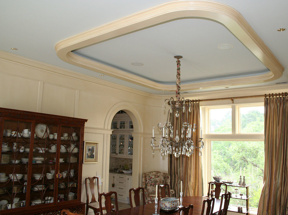 Wall Paneling with Tray Ceiling Moulding