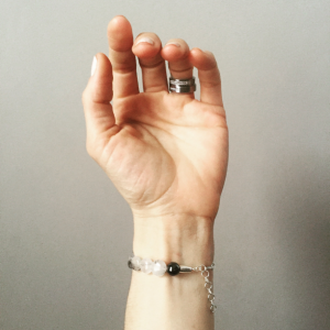 Inner Gate Acupressure Bracelet in Tourmalinated Quartz and sterling silver.