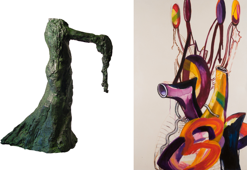 Image (left): Ed Smith, Beggar with Head, 2014, bronze. Image (right): Joni Wehrli, Untitled, 2010, acrylic on canvas.